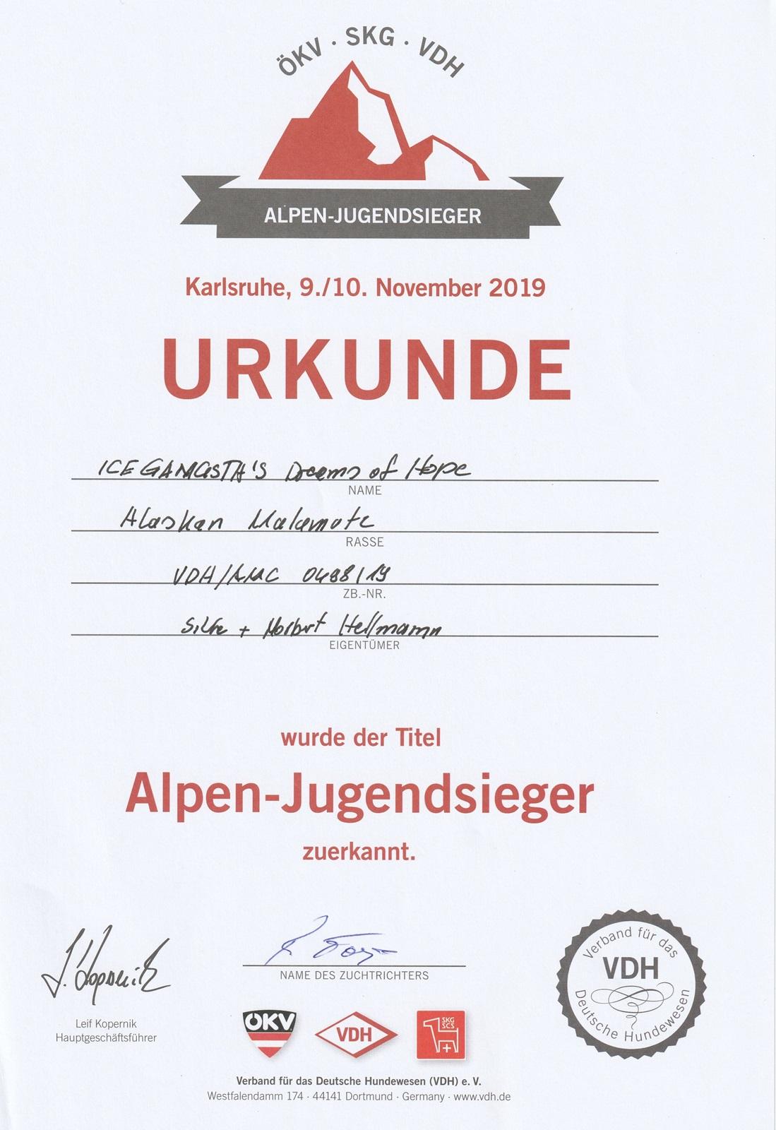 Urkunde Dreamy Alpenjugendsieger_1600