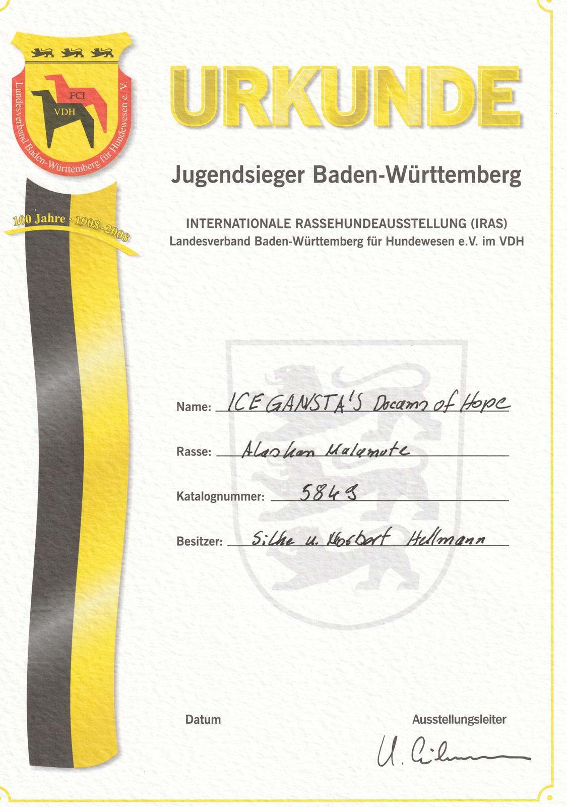 Urkunde Dreamy Jugendsieger BW_1600